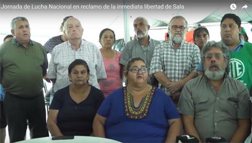 Conferencia de prensa en acampe de Plaza Belgrano convocando a la jornada de hoy